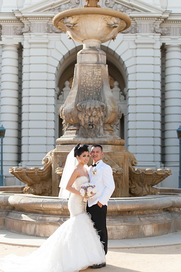 Pasadena City Hall Wedding Photography Session Bridal party Bride Groom Portraits