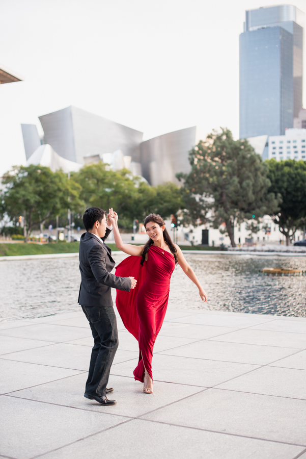 Walt Disney Concert Hall Engagement Photography Session by Socal Wedding Photographer